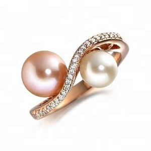 Double pearl jewelry silver mounting ring 925 sterling silver mountable pearl finger rings