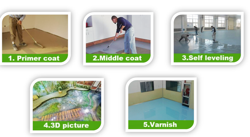 Chemical anti salt good abrasive resistance liquid resin epoxy 3d floor paint