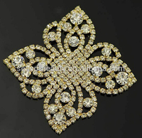 Gold design 888 stones fancy rhinestone patch applique for dresses seasofbeauty