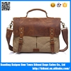 Hot sale men document book bag canvas crazy horse leather messenger bag for new fashion