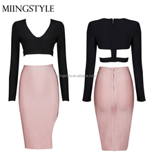 bandage designer two piece paty dresses , v neck sexy bodycon evening dress in china