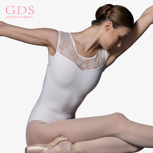 China Fit and Flare Lace White Dance Leotard for Women