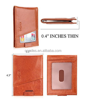RFID Blocking Bifold Slim Genuine Leather Money Clip Wallets for Men Billfold