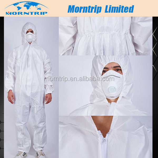 Microporous Film Laminated SF Protective Coverall Back With Customized Logo Printing For One times Using