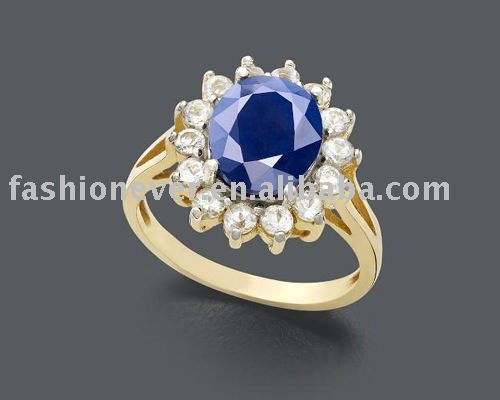 Diana's Ring,Kate Ring, Oval Sapphire CZ Royal Engagement Ring Gold Plated Solid Band
