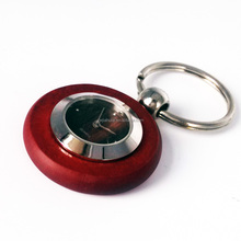 New Design Clock Shape wooden keychain