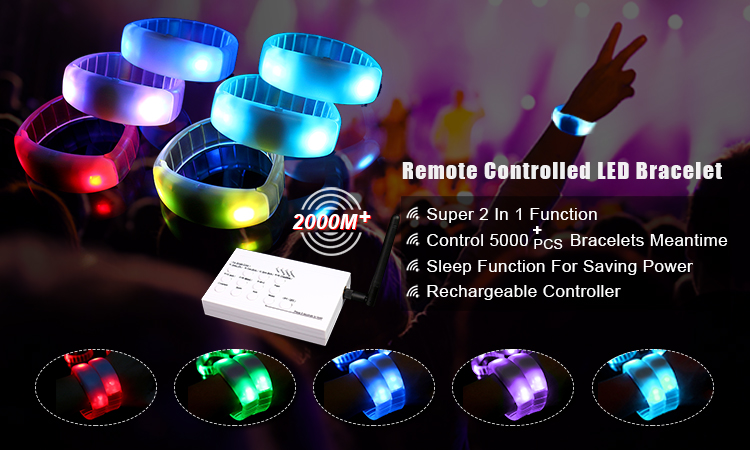 2017 New Special Functions Concert Event Colorful Wristbands Remote Controlled LED Bracelet