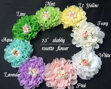 "Artifical Petite 2.5"" Shabby Pearls Shapes For Babygirl,Shabby Chiffon Pearls Flower Wholesale"