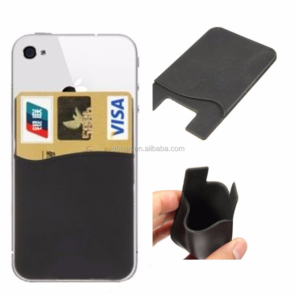 Universal Silicone Back Adhesive Sticker Pouch SIM/ID/Credit Card Holder Pocket for Cell Phone