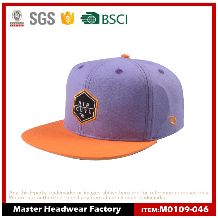 OEM/ODM Custom Hip Hop Hat Snapback/purple hats with woven label