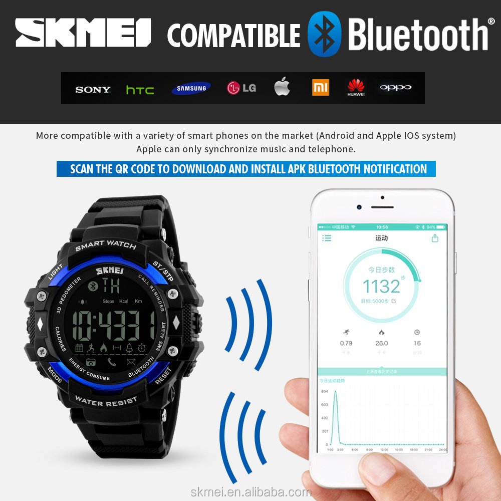 Phone connect smart watch bluetooth bracelet black solor display