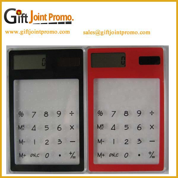 Transparent solar calculator new design, Advertisng Customized Printing Plastic Calculator