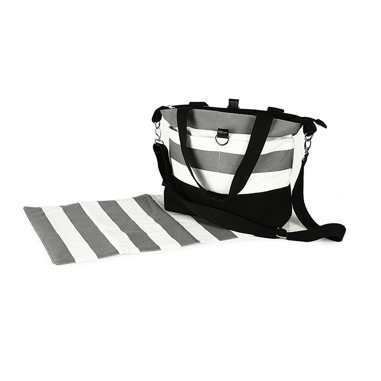 1DP0439 Wholesale Amazing Fashional Multi-function Tote Canvas Black And White Stripe Gift For Mamas Diaper Bags