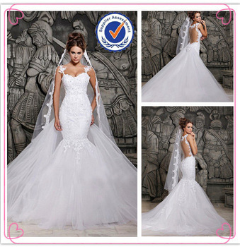 white small train 2016 mermaid wedding dress