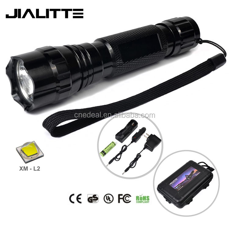 Jialitte F112 Aluminum 1800lm XM-L2 <strong>U2</strong> Led Most Powerful Led Flashlight, 18650 Battery and Charger Included