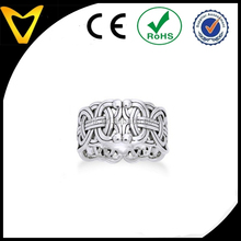 Borre Knot Norse Celtic 10mm Sterling Silver Ring Viking Braided Wedding Band