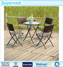Wholesale Outdoor Resin Wicker 5PC Folding Dining Set