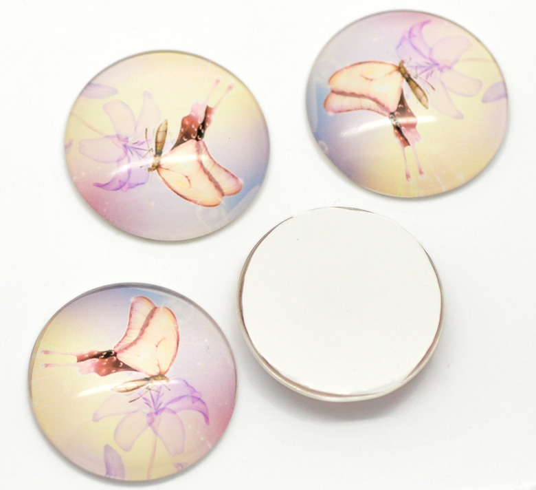 "Multicolor Butterfly Flower Pattern Round Glass Dome Seals Cabochon, 30mm(1-1/8""), sold per pack of 10,Customize"