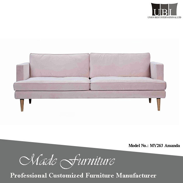 China Manufacturer Wooden Furniture Design Comfort Feather Filling Fabric Sofa