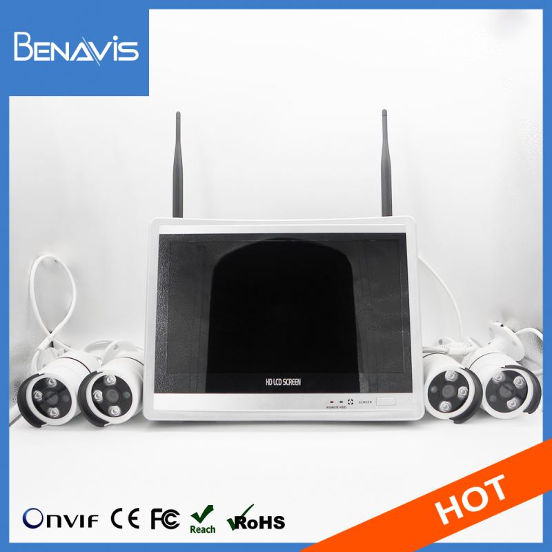 "12.5"" LCD Hi3520d 1080p 4ch Onvif Wireless Cameras And 8ch Nvr"