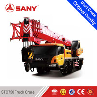 SANY STC750 75 Tons Used Truck Mounted Crane of 2013 Year with EURO III for Second Hand Crane
