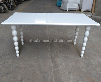 White high gloss furniture reception wooden dining table XYN373