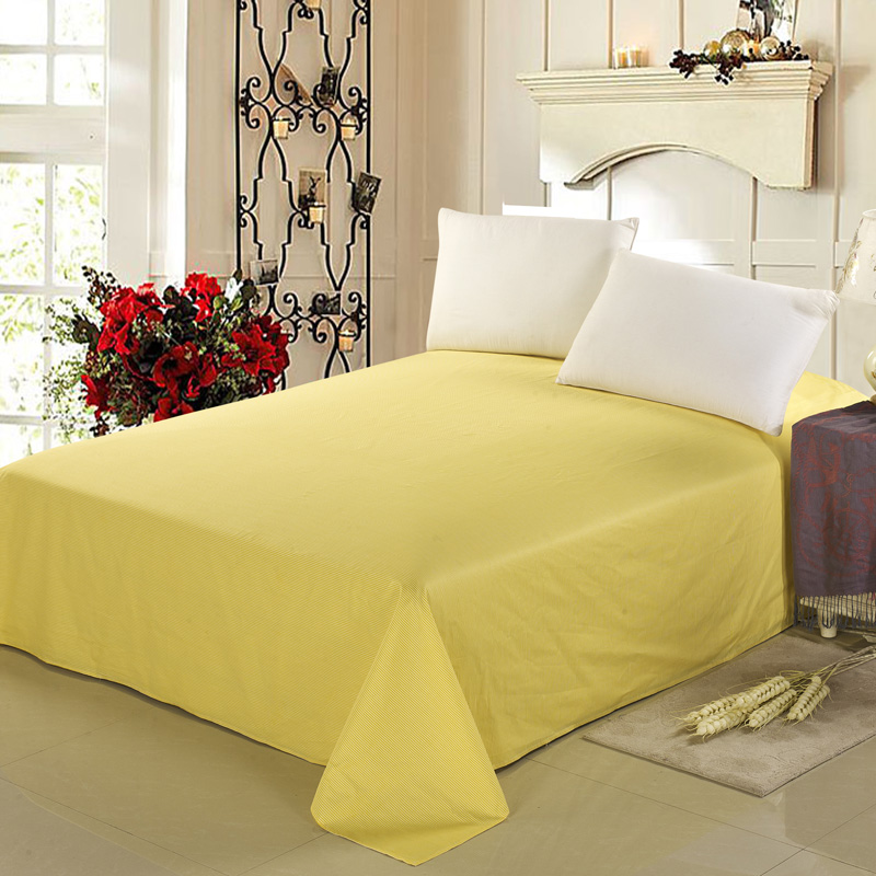 Yellow Solid Color 100% Cotton Bed Sheet / Flat Sheet