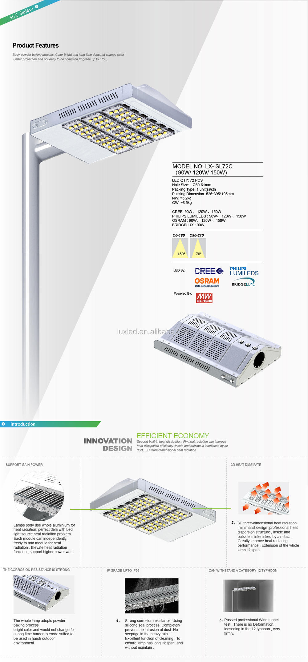 meanwell 5 year warranty competitive price led street lights 80 watt