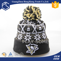 Fashion beanie custom funny knit winter knit hat with ball top
