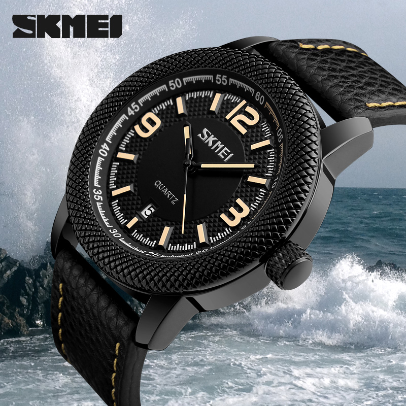 Popular Trendy SKMEI watches mens quartz wrist watch with leahter strap