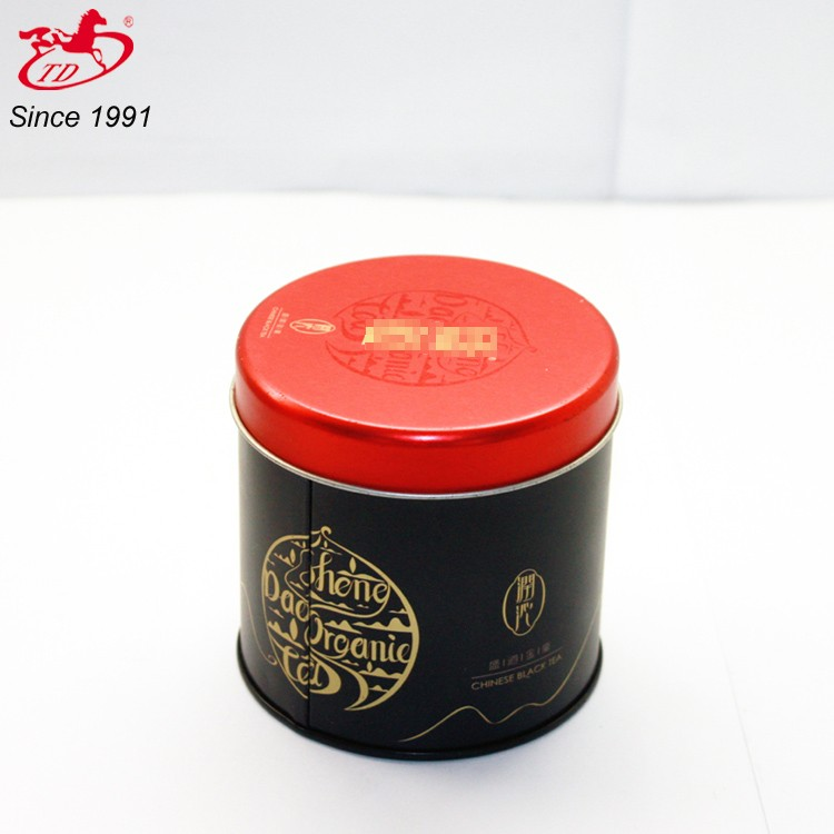 high quality custom round metal tin boxes for tea bottle package