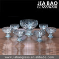 2017new designed 7pcs glass fruit bowls set with stemware, engraved crystal glass salad bowl/ice cream bowl/mixing bowl set