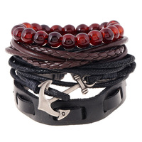 Fashion bead leather bracelet men for set wholesale N800243