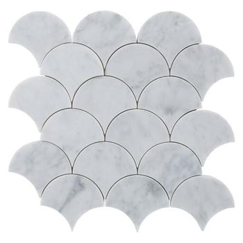 Decorstone24 Carrara White Marble Fish Scale Mosaic Tile For Backsplash