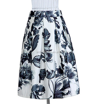 mature women vintage flowers print long pictures fashionable skirts