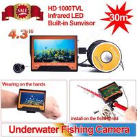 "30m 4.3"" Screen Underwater Fishing Camera Wearable Fish Finder Built-in Sunvisor"