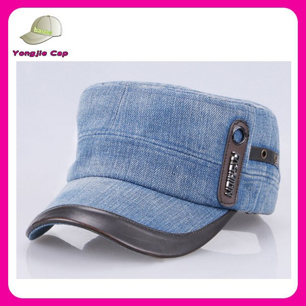 unisex multi color flat top type sport caps denim military hat patterns hard hat