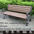 Outdoor Cast Aluminum Metal Leg Ends with Wood Plastic Composite Slats for Garden Bench