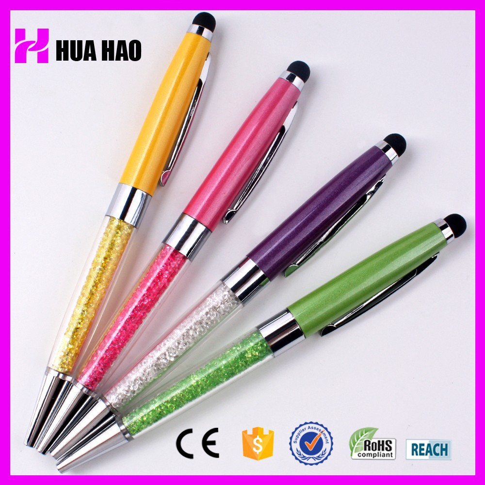 Small MOQ Colorful Metal Crystal Pen of Crystal Ball Pen with Stylus Touch Screen Pen