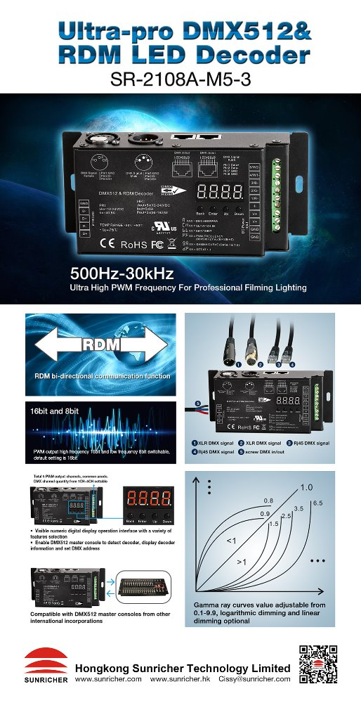 30KHZ high PWM frequency RDM DMX decoder SR-2108A-M5-3