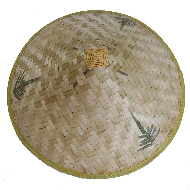 3 Leaves Bamboo Conical Sun Hat With String Chin Strap