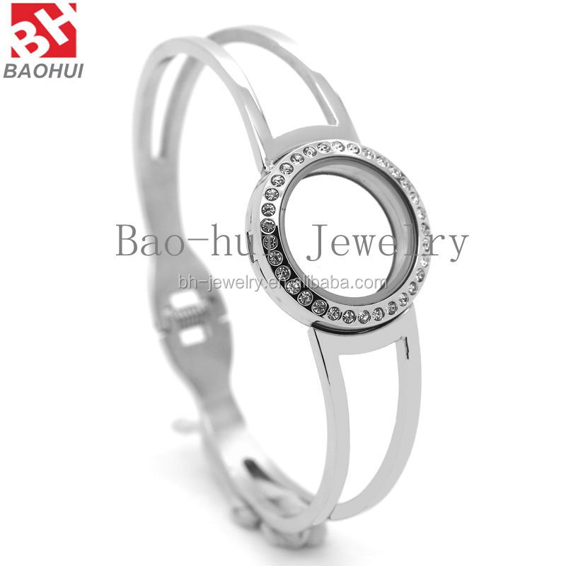 2016 Bracelets & Bangles (25MM, 45*62MM) Round Stainless Steel Flexible Open Living Glass Floating Charms Locket Cuff Bracelet