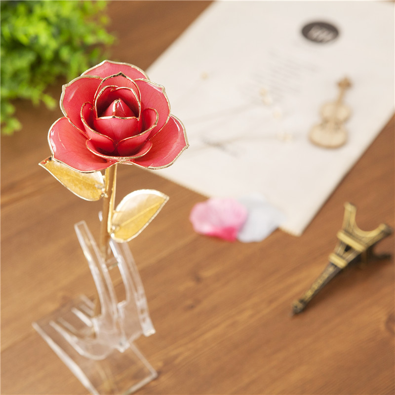 Daiya 24k Gold Rose Flower Gifts With Golden Leaves
