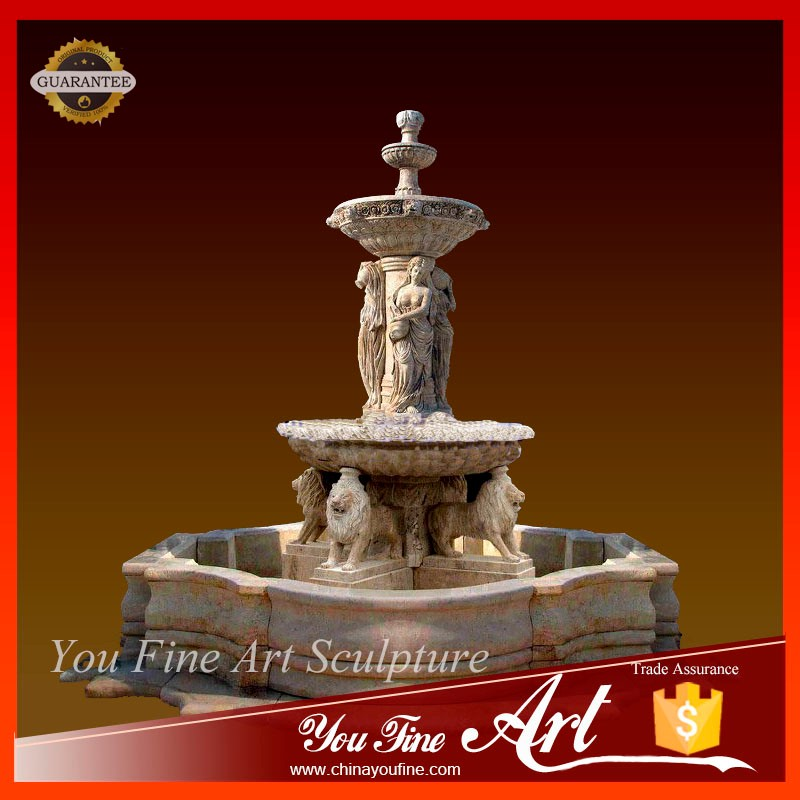 Customized Service Lions and Lion Heads Bowls stone fountain for sale