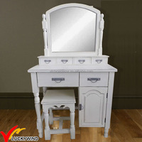 new design antique white wooden dressing table with mirror and stool