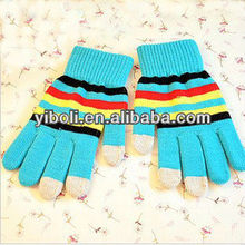 Zhejiang Winter warm gloves military fashion lady stripe touch screen gloves finger touch gloves