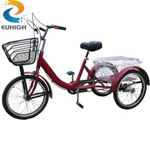 Best-selling 24 inch steel frame pedal adult delivery cargo tricycle with basket