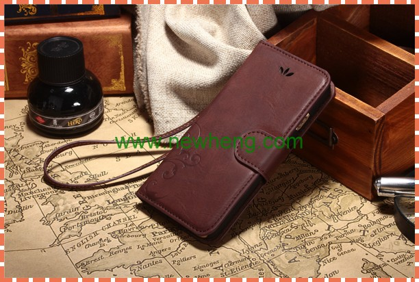 New product 3D embossed smart phone wallet style leather case for iphone 6plus