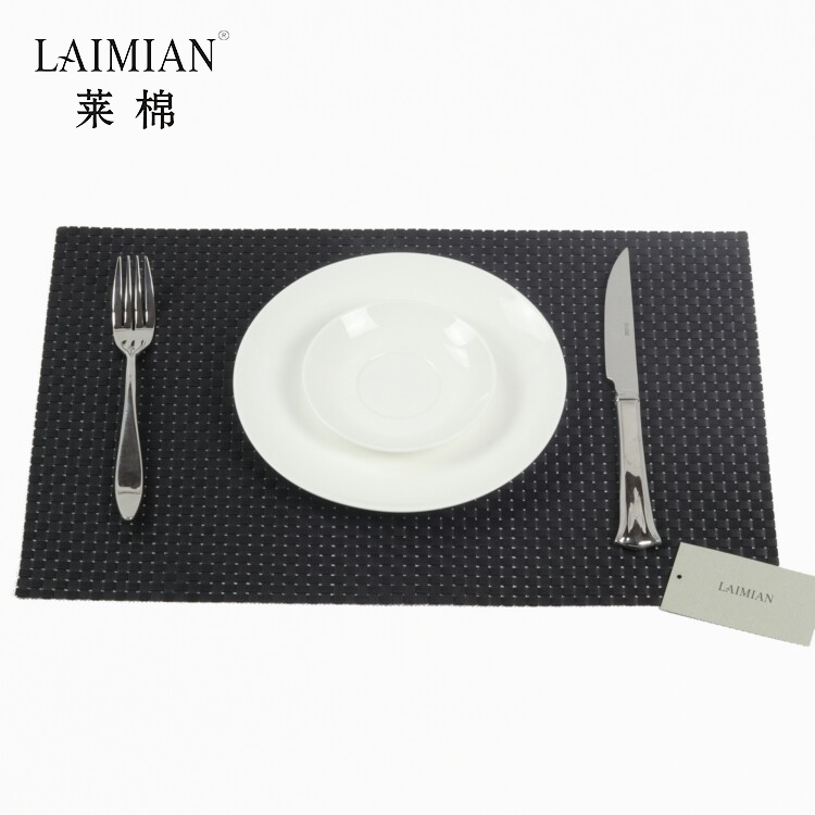 High quality custom disposable 30*40cm PVC material black placemat