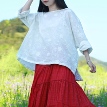 2017 Original Women Blouses Plus Size Women Clothing White Cotton Shirt 9 Point Sleeve Tops Ethnic Embroidery Blouse